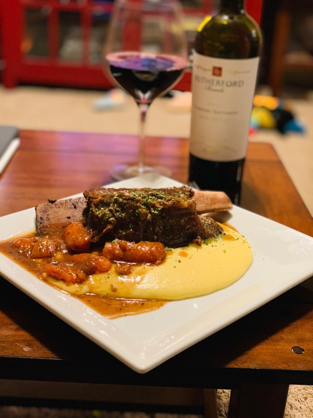 Cheesy Parmesan polenta & Short ribs braised in red wine!